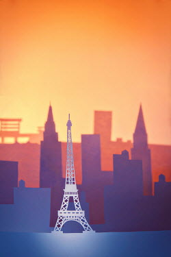 Emma Goulder ORANGE PAPER CUT OUT OF EIFFEL TOWER Specific Cities/Towns