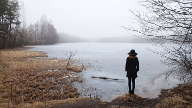 Efim Shevchenko WOMAN IN HAT BY WINTRY LAKE Women