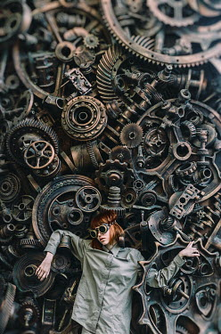 Inna Mosina FUTURISTIC WOMAN TRAPPED IN MACHINE PARTS Women