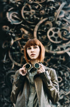 Inna Mosina WOMAN WITH GOGGLES BY MACHINE PARTS Women