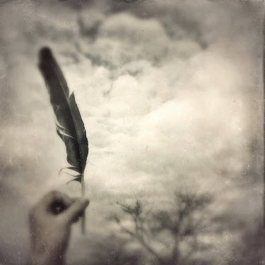 Dawn Hanna HAND HOLDING FEATHER UNDER CLOUDS Body Detail