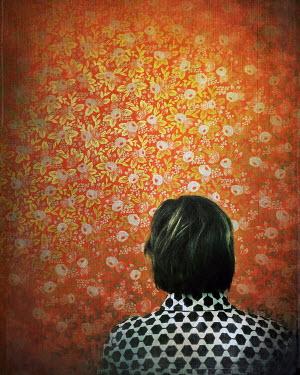 Dawn Hanna WOMAN IN FRONT OF ORANGE WALLPAPER Women