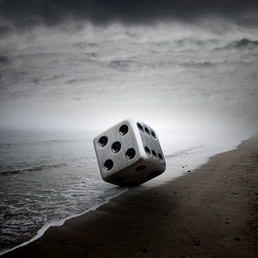 Zoltan Toth HUGE DICE ON STORMY BEACH Seascapes/Beaches