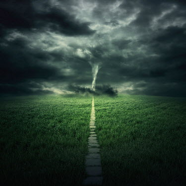 Zoltan Toth TORNADO IN DISTANCE OF COUNTRY PATH Paths/Tracks