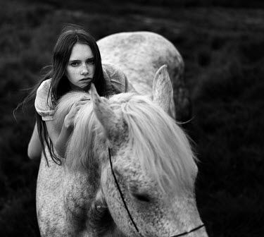 Dmitry Ageev WOMAN WITH HORSE IN COUNTRYSIDE Women