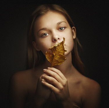 Dmitry Ageev YOUNG GIRL WITH LEAF OVER MOUTH Women