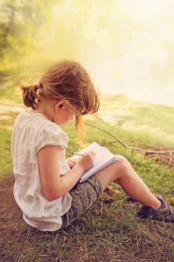 Elena Schweitzer LITTLE GIRL DRAWING IN COUNTRYSIDE Children