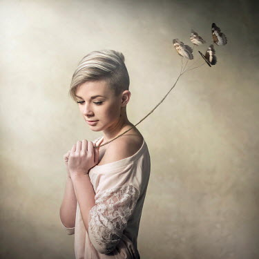 Michal Zahornacky WOMAN WITH BUTTERFLIES ON STRING Women