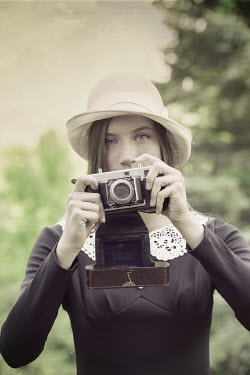 Terry Bidgood VINTAGE WOMAN WITH CAMERA OUTSIDE Women