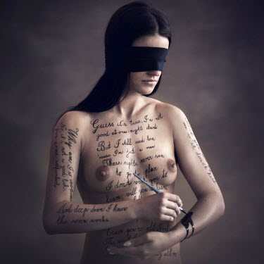 Michal Zahornacky BLINDFOLDED NUDE WOMAN WRITING ON HERSELF Women