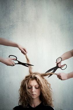 Maria Petkova WOMAN HAVING HAIR CUT BY SCISSORS Women