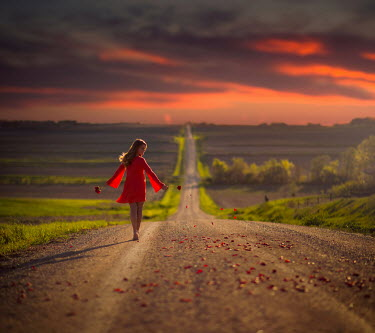 Jake Olson WOMAN SCATTERING PETALS ON COUNTRY PATH Women