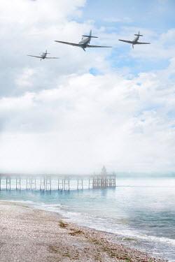 Lee Avison THREE 1940S PLANES FLYING OVER OCEAN Miscellaneous Transport
