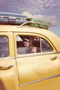 Elisabeth Ansley YOUNG RETRO GIRL INSIDE YELLOW CAB Children