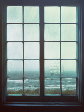 Sandra Cunningham WINDOW LOOKING OUT AT SHIP ON OCEAN Seascapes/Beaches