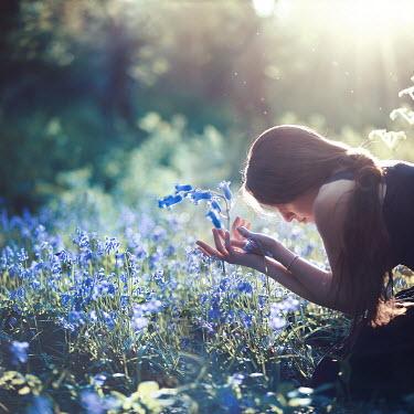 Raphaelle Monvoisin YOUNG WOMAN AMONG FLOWERS IN COUNTRYSIDE Women
