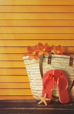 Sandra Cunningham FLIP FLOPS NEAR STRAW BAG AND FLOWERS Miscellaneous Objects