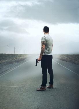 Mark Owen MAN WITH GUN ON MISTY ROAD Men