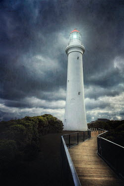 Evelina Kremsdorf LIGHTHOUSE AND BOARDWALK IN STORM Miscellaneous Buildings