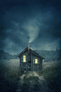 Elena Schweitzer WOODEN CABIN IN STORMY COUNTRYSIDE Houses