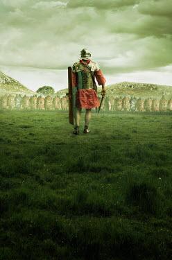 Stephen Mulcahey roman centurion man walks towards his army Men