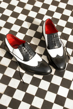 Michael Trevillion RETRO BLACK AND WHITE SHOES ON CHEQUERED FLOOR Miscellaneous Objects