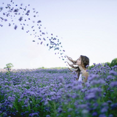 Dasha Pears YOUNG SURREAL WOMAN IN FIELD OF FLOWERS Women