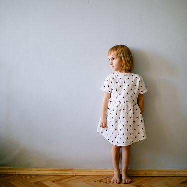 Dasha Pears LITTLE BLONDE GIRL IN POLKA DOT DRESS Children