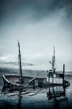 John Cooper FISHING BOAT SINKING IN MISTY WATER Boats