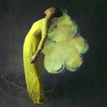 Josephine Cardin SURREAL WOMAN LEANING BACK IN YELLOW DRESS Women