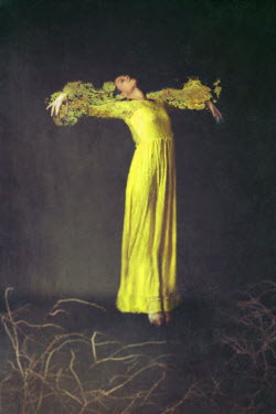 Josephine Cardin SURREAL WOMAN STRETCHING IN YELLOW DRESS Women