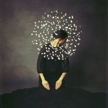 Josephine Cardin SURREAL WOMAN WITH PAINT DOTS AROUND HEAD Women