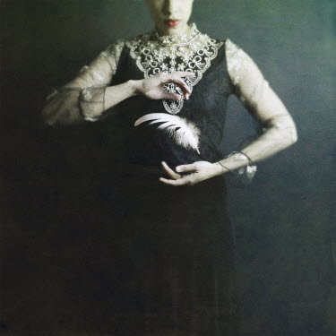 Josephine Cardin SURREAL YOUNG WOMAN WITH FLOATING FEATHER Women