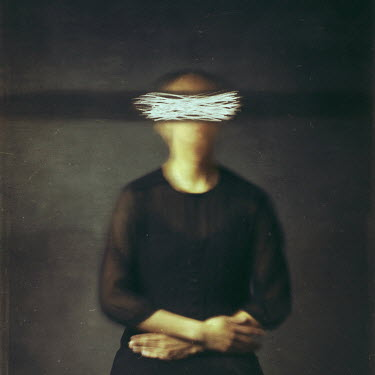 Josephine Cardin SURREAL WOMAN WITH SCRATCHES OVER EYES Women