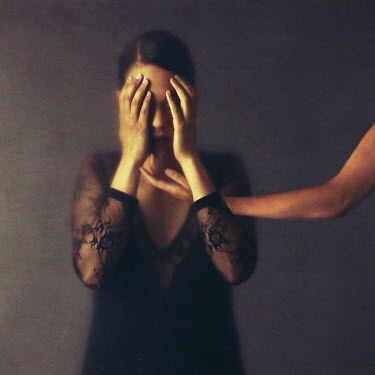 Josephine Cardin HAND REACHING UNDER WOMANS FACE Women
