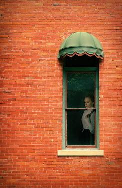 Buffy Cooper HISTORICAL WOMAN IN WINDOW OF BRICK BUILDING Women