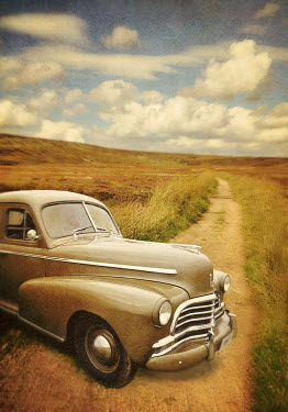 Lyn Randle RETRO CAR ON COUNTRY ROAD Cars