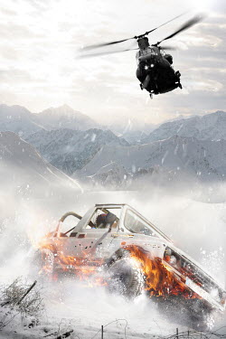 Nik Keevil HELICOPTER CHASING JEEP CAR IN SNOWY MOUNTAINS Cars