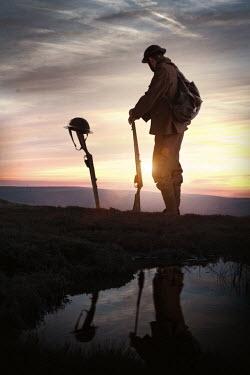 Lee Avison world war one soldier with gun at sunset Men
