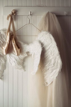 Sandra Cunningham Angel wings and ballet shoes hanging on hooks Miscellaneous Objects