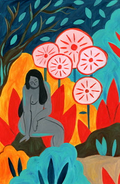 Mayte Alvarado Simancas NAKED WOMAN SITTING IN LANDSCAPE WITH FLOWERS