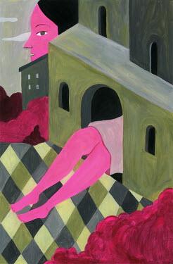 Mayte Alvarado Simancas GIANT PINK WOMAN INSIDE BUILDING