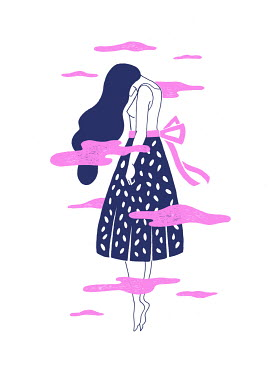 Mayte Alvarado Simancas WOMAN WITH LONG HAIR FLOATING IN PINK CLOUDS
