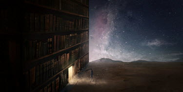 Michael Vincent Manalo MAN WITH FLOWING HAIR BY DOORWAY IN GIANT BOOKSHELVES