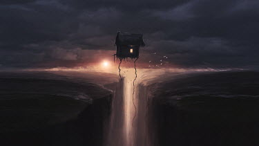 Michael Vincent Manalo SMALL HOUSE FLOATING OVER WATERFALL