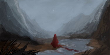 Michael Vincent Manalo WOMAN IN FLOWING RED CAPE BY RIVER AND MOUNTAINS