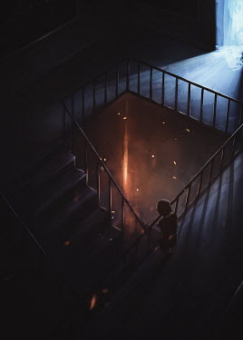 Michael Vincent Manalo LITTLE GIRL WATCHING BY STAIRCASE AT NIGHT
