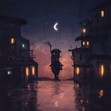 Michael Vincent Manalo LIGHTS IN HOUSES AT NIGHT WITH MOON