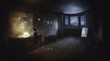 Michael Vincent Manalo BOY IN ROOM AT NIGHT WITH WORLD MAP
