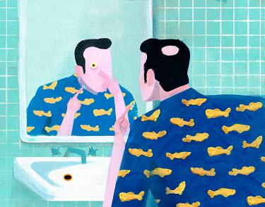 Gonzalo Martinez Moreno MAN IN BATHROOM STARING AT MIRROR